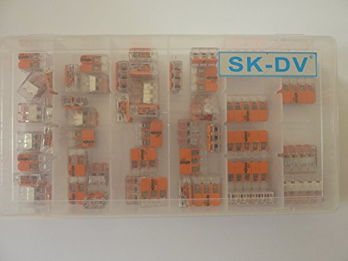 Wago Verbindungsklemme Sortiment 50 Stück Hebelklemmen gemischt Typ 221 - 412 , 413 , 415 in SK-DV Kunstoffbox