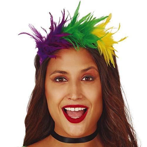 Amakando Farbenfroher Feder-Haarreifen Paradies-Vogel / Bunter Feder-Haarschmuck für Damen / EIN Blickfang zu Festival & Kostümfest