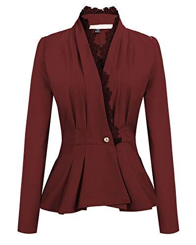 JIER Damen Elegant Rüschen Blazer Sakko Cardigan Blazers Leichte Jacke Gothic Anzugjacke Businessjacke Jacket Slim Fit Anzug Trenchcoat Outwear (Rotwein,XX-Large)