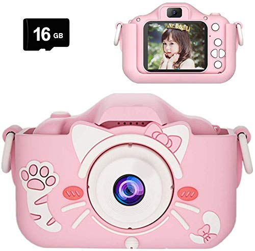 Kids Digital Camera, Rechargeable Child Camera with Soft Silicone Case&16GB Card, 8.0MP Selfie Toy Camera, Mini Children Camera Camcorder with Dual Camera Design Gift for 3-12Years Boys and Girls