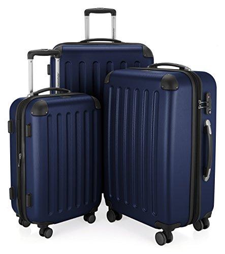 HAUPTSTADTKOFFER - Spree - 3er Koffer-Set Trolley-Set Rollkoffer Reisekoffer, TSA, (S, M & L), Dunkelblau