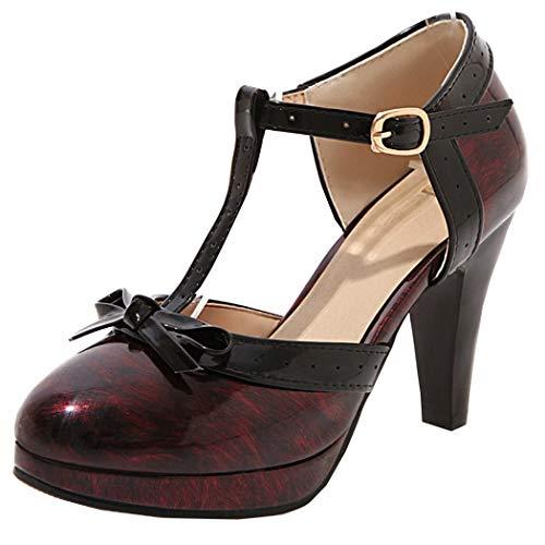 T-spangen Pumps Damen Lack High Heels Plateau mit 9cm Absatz Rockabilly Schuhe(Rot,39)