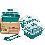 3 Semilleros de Germinación | Juego de Cultivo para 36 Plantas | Germinador de Semillas | Orificios Ajustables para una Humedad Ideal | Bandeja para Germinar Plantas y Vegetales | Mini Invernadero