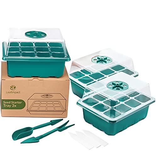 LeafImpact 3er-Pack Mini Gewächshaus | Komplett-Set Indoor für 36 Pflanzen | Zimmergewächshaus zur Anzucht im Zimmer | Anzucht Gewächshaus Klein Fensterbank | Anzuchtkasten für Pflanzen & Gemüse