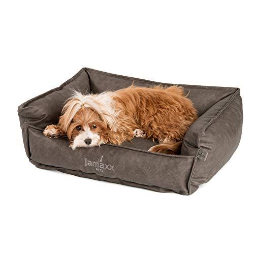 JAMAXX Premium Leder-Sofa Orthopädische Memory Visco Füllung, Hohe Seitenränder, Hunde-Couch mit Kunstleder Bezug, Reißverschluss, Hundebett PDB2019 (S) 70x50 grau