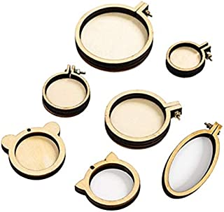 7pcs/Set Mini Ring Embroidery Circle Round Wood Hoops DIY Wooden Cross Stitch Hoop for