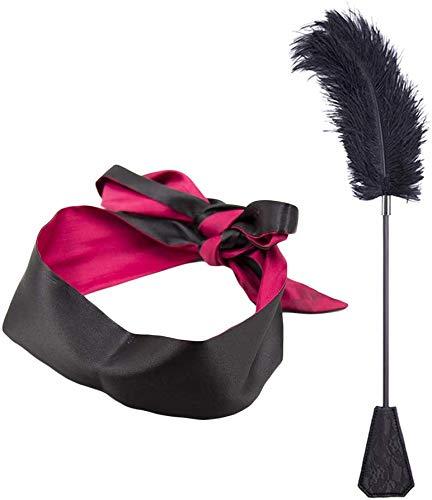 Feather Kitzeln Spielzeug mit Satin-Augenbinde, Schlafmaske, Sportpeitsche, Federkitzel
