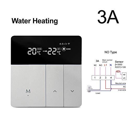 Termostato Controlador De Temperatura Del Termostato Inteligente WiFi, Control Remoto De La Aplicación 100-240 V, Trabaje Con Alexa Google Home Yandex Alice (Color : 3A Water Heating)