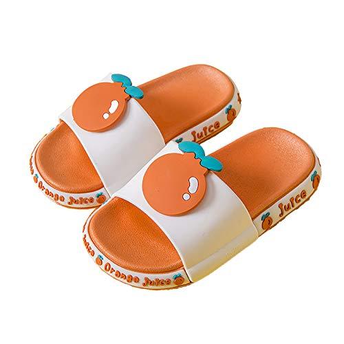 YUYUBAOER Niños Lindos Frutas Zapatillas Zapatos para el hogar, Sandalias Antideslizantes de baño de Verano Chanclas de Verano Playa de Playa Toboganes Orange- 30~31