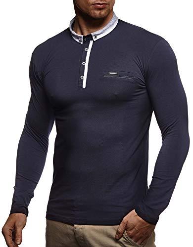Leif Nelson Herren Langarmshirt Poloshirt Slim Fit Baumwolle-Anteil Basic Männer Longsleeve Pulli Sweatshirt Poloshirt Schwarzer Pullover Sweater T-Shirt Langarm LN4810 Dunkel Blau Large