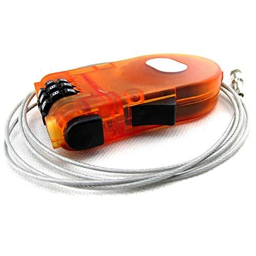 Nologo JFCUICAN Mini-Vorhängeschloss mit Seil, ausziehbarer Draht, Anti-Diebstahl, 3-stelliger Sicherheitscode, plastik, Orange, One Size