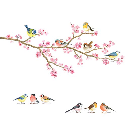 DECOWALL DS-8039 Fleurs de cerisier et oiseaux de jardin(Petit) Autocollants Muraux Mural Stickers Chambre Enfants Garderie Salon wall adhsif maison dcalcomanies