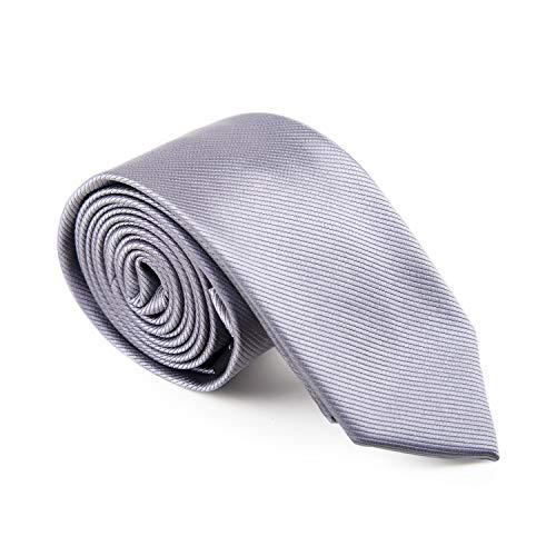 GENTSY  Corbata Hecha a Mano para Hombre Ancho Estandar de 8 cm o Delgado 6 cm - Colores Solidos (K42 Gris)