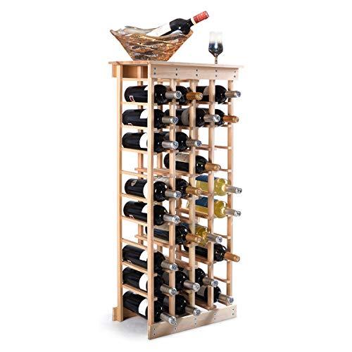 DREAMADE Weinregal Holz, Flaschenregal Kiefer, Weinschrank mit Ablage, Flaschenablage für 44 Flaschen,Weinständer naturfarbe, Weinflaschenhalter