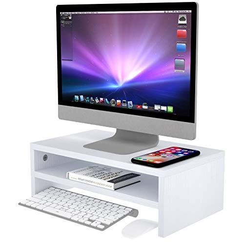Hölzerner Monitorständer Riser, Astoryou 16,5-Zoll-2-Tier-Schreibtisch-TV-Regal Computer-Monitorständer, vielseitiger Aufbewahrungsregal- und Bildschirmhalter für das Home-Office-Geschäft, Weiß