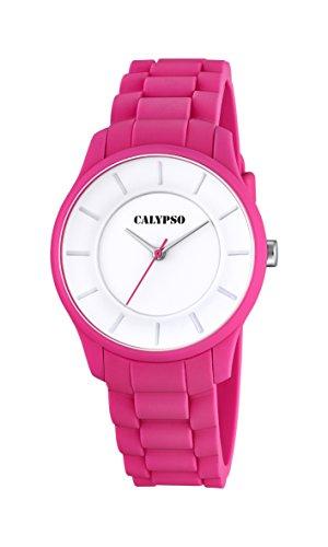 Calypso Reloj Unisex de Cuarzo con Correa de plástico en Color Blanco Esfera analógica Pantalla y Rosa K5671/4