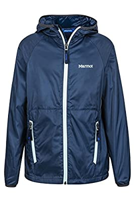 Marmot Boys' Ether Lightweight Hooded Windbreaker Jacket, Vintage Navy, Large
