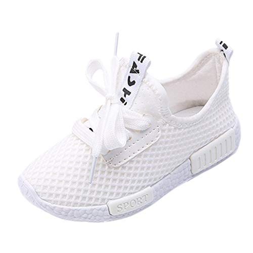 Longra Bébé Garçons Filles Chaussures Sport Running Chaussures Casual Mode Engrener Chaussures Lettre Imprimé Chic Chaussures Outdoor Mignon Sneakers Basket Chaussure Bambin Shoes(Blanc,EU29)