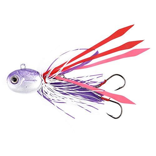 Narootec Appâts pour la pêche,Dur leurre NAROOTE Leurres de pºche, appats Principaux de tºte de calmar de 3D Yeux(Violet)