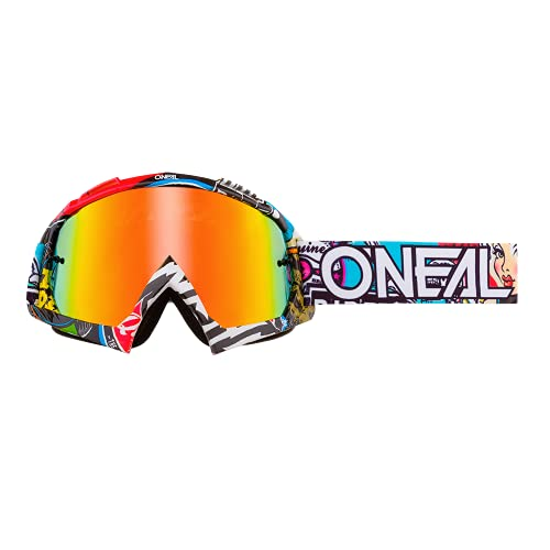 O'NEAL | Motocross-Brillen-Ersatzteile | Motorrad Enduro | Modernes Rahmendesign, Glas aus hochwertiger 1,2 mm-3D-Linse, 100% UV-Schutz | B10 Goggle Radium | Crank Multi | One Size