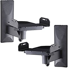 A pair of side clamping speaker mounts Easy Install, 360 degrees swivels and 10 degrees up or down tilts adjustable Clamp adjusts from 5.3 to 11 inches Supports up to 33 lbs; Cable management Heavy duty steel construction with wall plate cover. Stand...