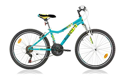 Frank Bikes 24 Zoll Kinder MÄDCHEN Jungen MTB Mountainbike Fahrrad 18 Gang JUGENDFAHRRAD KINDERFAHRRAD Bike Rad FEDERGABEL Maestro TÜRKIS BLAU