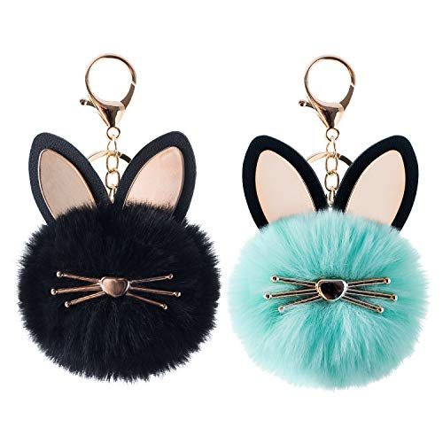 2Pcs Pom Pom Keychain Fluffy Cute Cat Keychain Puff Ball Keychain for Women Bag Purse Car Key Rings (Kitten Green Black)