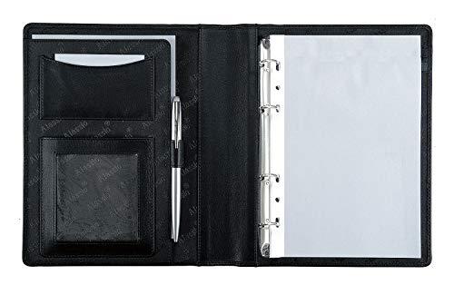Alassio 30003-1 - Ringbuchmappe BENACO im DIN A5 Format, Schreibmappe aus Lederimitat, Dokumentenmappe in schwarz, Mappe ca. 23 x 18 x 3 cm