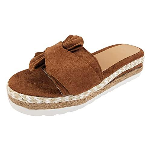 여성을위한 여름 해변 플랫폼 샌들 BOWKNOT ESPADRILLES 트림 오픈 발가락 슬리퍼 신발