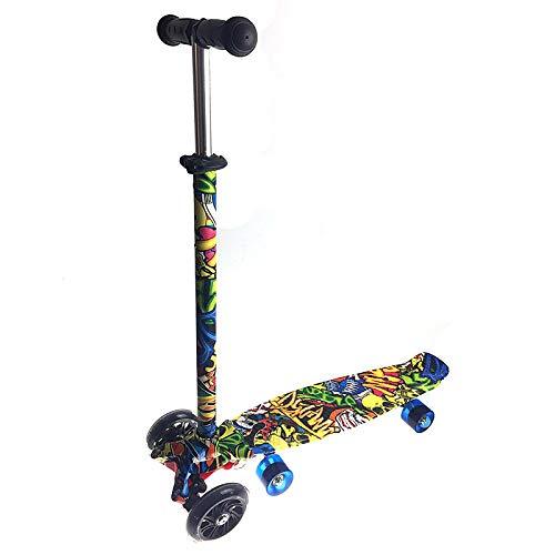 LABYSJ Scooter para niños, patineta extraíble 2 en 1, Altura Ajustable, Rueda de luz Intermitente, patrón de Baile Callejero, patinetas de pie Juguetes Regalos