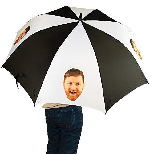 Nifty Gifty Paraguas personalizado para la cara   Sombrilla para la cara   Personalizado hermoso máximo relajante cómodo Kriss Kringle Face Umbrella Regalos para hombres y mujeres – Añade tu foto