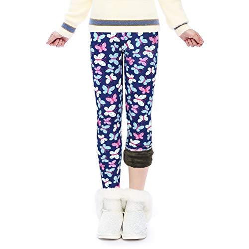 Winter Thick Warm Long Kids Pants Fleece Lined Girls Leggings(GP23_Butterfly_130)