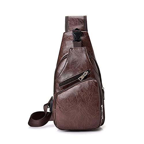 JDJD Bolsa De Pecho Mochila Mochila Masculina USB Bolsa De Cofre De Carga Bolso De Hombro Hombre Ciclismo Al Aire Libre Deporte Bolsa De Mensajería (Color : Dark Brown, Size : 10 * 17 * 35cm)
