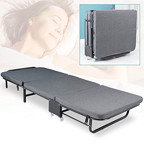 CAMORSA Folding Bed with Thick Memory Foam Mattress Rollaway Beds Portable Guest Twin Bed for Home Office Camping (Gray with Wheels)