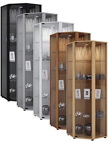 VCM Eckvitrine Glasvitrine Standvitrine Schrank Sammelvitrine Vitrine Glas Regal Schwarz 175 x 57 x 57 cm