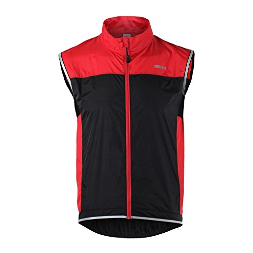Tofern Unisex Windproof Lightweight Reflective Safety Sleeveless Vest for Cycling Bike Sports Running, Red L