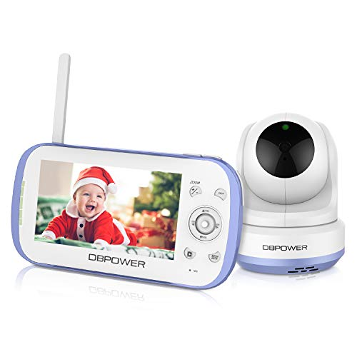 "DBPOWER Video Baby Monitor, 270o Pan-Tilt-Zoom/4.3"" Large Screen/VOX/Soothing Lullabies/Temp. Monitor/2-Way Talk/Night Vision/Nightlight/Record/Sound Indicator for Elder/Pet. etc., Camera Expandable"