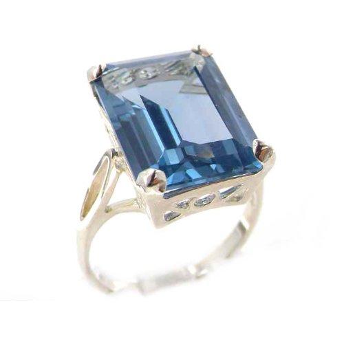 Damen Ring 925 Sterling Silber mit Aquamarin - Größe 61 (19.4) - Verfügbare Größen : 50 bis 64