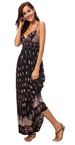 Urban GoCo Mujer Vestido Largo Maxi de Verano Elegante Boho Backless Sundress para Boda Playas Fiesta Noche (M, Negro)