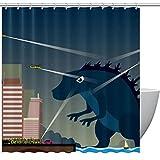 Duschvorhang Monster Dinosaurier Helikopter Stadtnacht für Badezimmer
