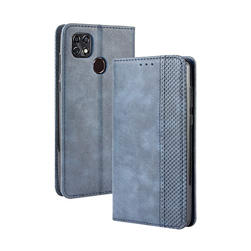 Tznzxm ZTE ZMax 10 / ZTE Z6250 Wallet Case, PU Leather Flip Book Style Folio Cover with Kickstand and Card Holder Slots Protective Magnetic Phone Case for Consumer Cellular ZMax 10 /ZTE ZMax 10 Blue