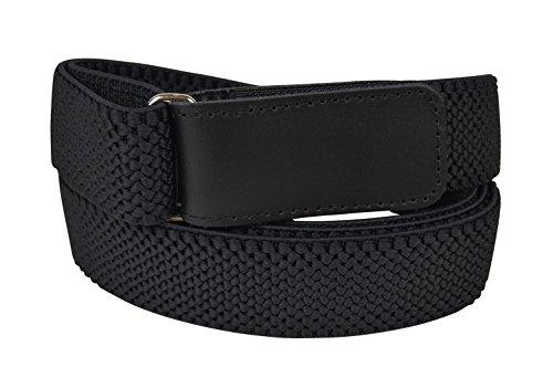 Olata Cinturón Elástico para Hombres 3cm con Hook y Loop Fijación, totalmente ajustable. Negro