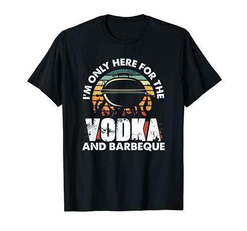 Solo estoy aquí para el Vodka y Barbacoa Retro Sunset Camiseta