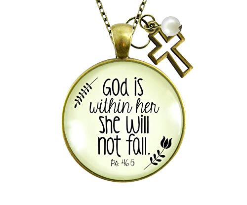 """Gutsy Goodness Faith Necklace God is Within Her Psalm Quote Saying Womens Reminder Jewelry 24"""""""