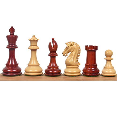 RoyalChessMall- 3.9' Craftsman Staunton Chess Pieces Only Set-Triple Weighted Bud Rose Wood