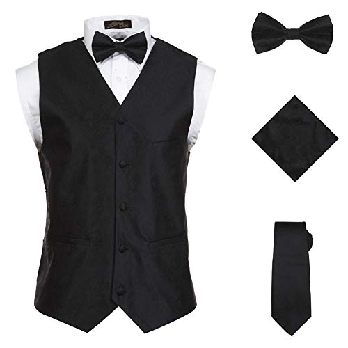 Vittorino Men 's 4 Piece Formal Paisley Vest Set with Tuxedo Vest Tie Hankerchief Bow Tie,Black,Medium