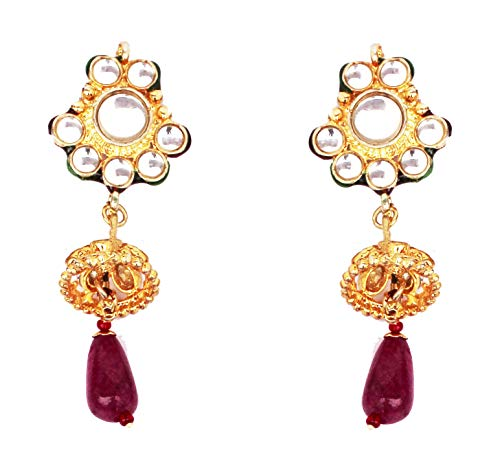 Touchstone de la India de Mughal Kundan Look Tear Drops pendientes de oro de tono para las mujeres