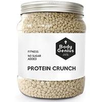 BODY GENIUS Protein Crunch (Chocolate Blanco). 500g. Cereales Proteicos. Bolitas de Proteína Recubiertas de Chocolate Sin Azúcar. Bajo en Hidratos. Snack Fitness. Hecho en España.