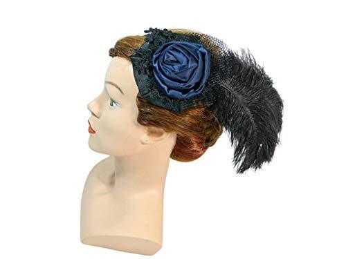 Fascinator schwarz blau Feder Kopfschmuck Gothic Burlesque Formal Damenhut Cocktailhut