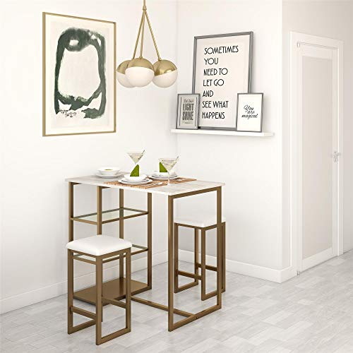 Dorel Living Tanner 3-Piece Brass Pub Set